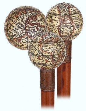 30. Ivory Globe Cane-ca. 1890-ivory Terrestrial Globe