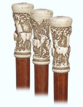 60. Ivory Figural Cane-ca. 1860-ivory Knob Turned In