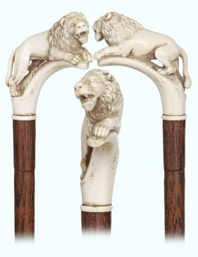 108. Ivory Lion Cane-19th Century-fine Grained Ivory
