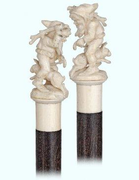 111. Ivory Garden Gnome Cane-ca. 1910-small Ivory Knob
