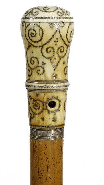 148. Important Ivory Pique Cane- Dated 69 for 1669- The