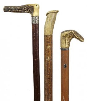 165. Three Stag Canes- Ca. 1830-1900- Nice Verage