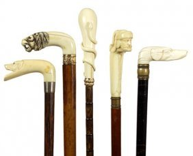 171. Five Good Ivory Canes- Ca. 1875- 1900- Five Canes