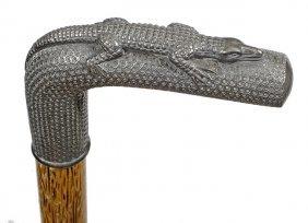 198. Alligator Dress Cane- Ca 1900- A Britania Or