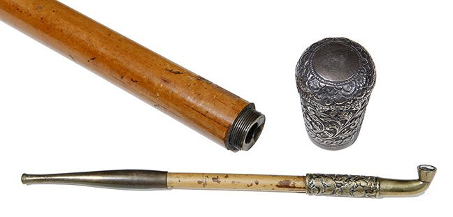 7. Opium Pipe Cane- Ca. 1880- A silver topped system