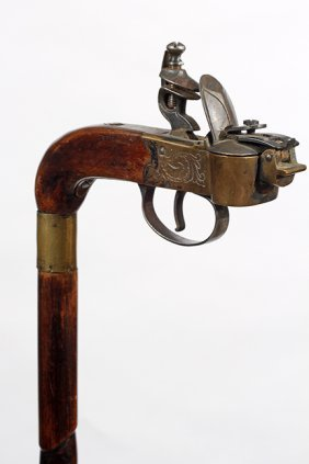 28. Cigar Lighter Cane- Ca. 1900- An Unusual Example Of