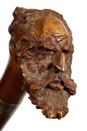 46. Folk Art Bearded Man Cane- Dated 1894- A Fine