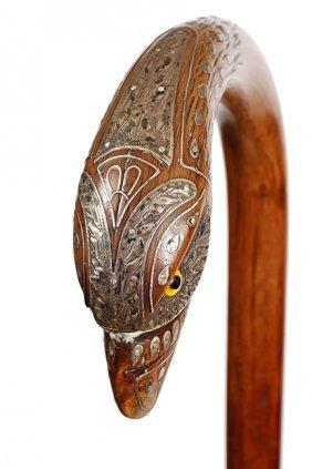 55. Silver Inlaid Eagle Cane- Ca. 1880- A Most