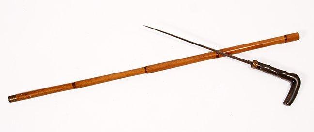 1. Horn Sword Cane- Ca. 1885- A twigspur horn handle,
