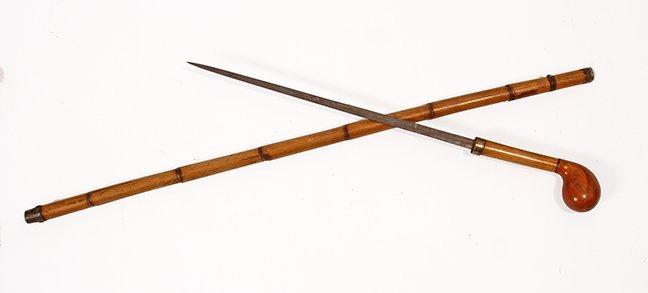 4. Burl Sword Cane- Ca. 1865- A burl pistol grip with