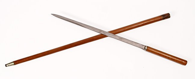 13. Asian Sword Cane- Ca. 1930- Fruitwood handle and