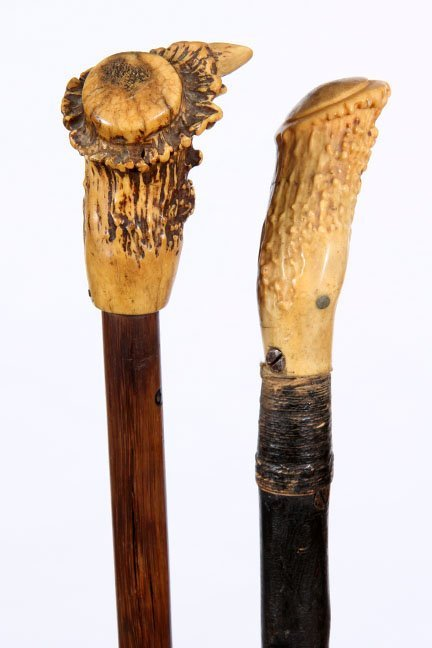 2. Two Early Stag Canes- Ca. 1850- Two stag handle