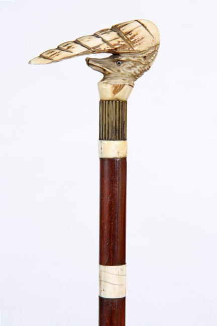 12. Stag Antler Fox Cane- Ca. 1900- A carved fox with