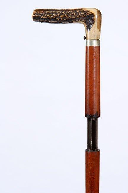 14.  Stag Gun Cane- Ca. 1885- A Dumonthier shotgun cane