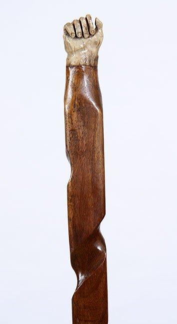 18. Stag Fist Cane- Early 20th Century- A carved stag