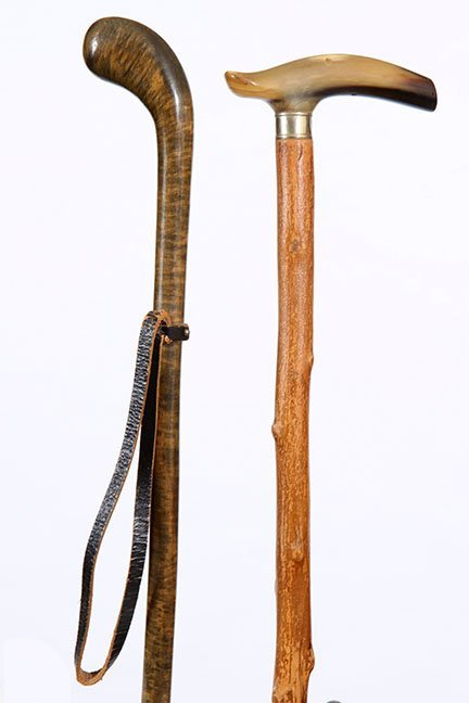 24. A Pair of Country Canes- Ca. 1920- One with horn