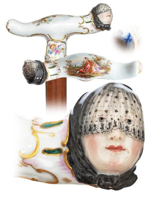1. Meissen Porcelain Figural Cane-Ca. 1850-Large