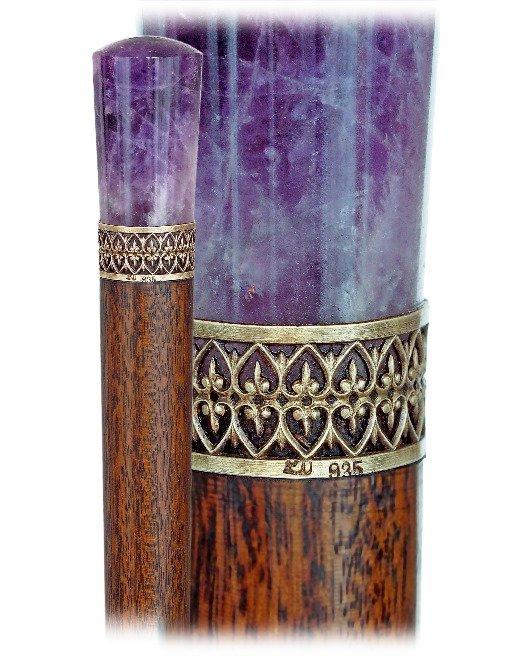 10. Hard Stone Dress Cane-Ca. 1900-Plain Amethyst