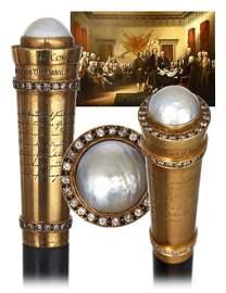 11. Jeweled Gold American Commemorative Cane-Ca.