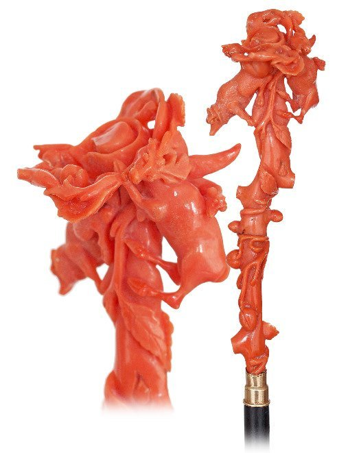 13. Excessively Scarce Red Coral Cane-Ca. 1850-Single