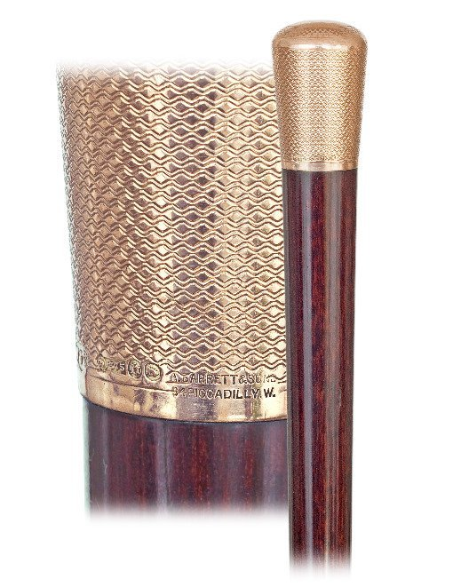 17. Gold Dress Cane-London hallmark 1917-9 karat rosé