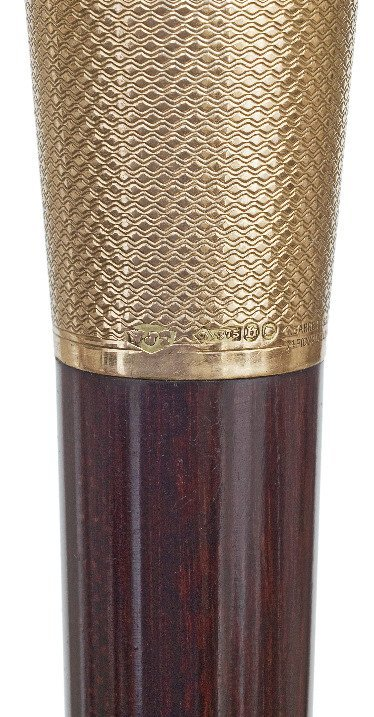 17. Gold Dress Cane-London hallmark 1917-9 karat rosé - 4
