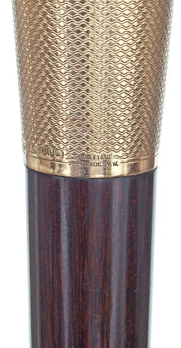 17. Gold Dress Cane-London hallmark 1917-9 karat rosé - 5