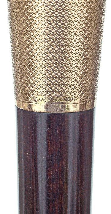 17. Gold Dress Cane-London hallmark 1917-9 karat rosé - 6