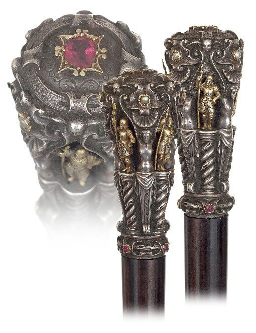 20. Jeweled silver and Gold Figural Dress Cane-Ca.