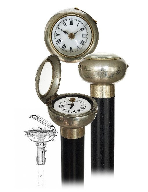 35. Watch System Cane-Ca. 1890-White metal cased watch