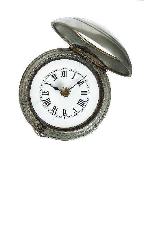 35. Watch System Cane-Ca. 1890-White metal cased watch - 6