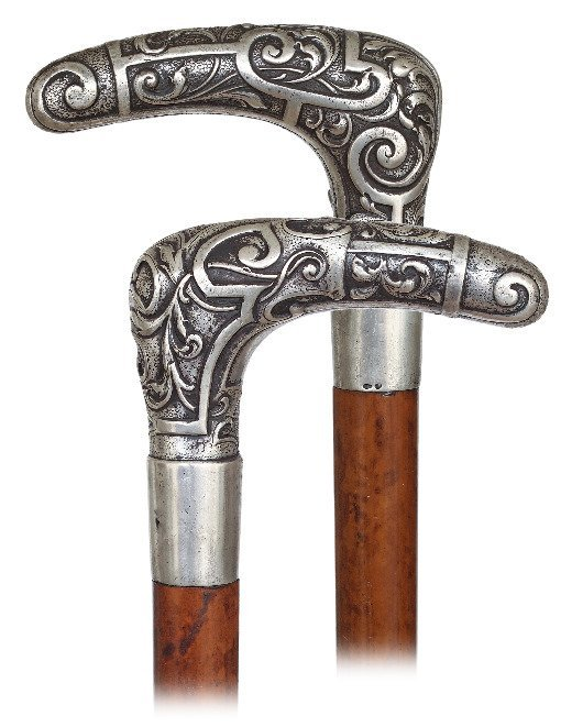 64. Silver Day Cane -Ca. 1890-Large L-shaped silver