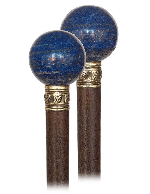65. Lapis Lazuli Dress Cane-Ca. 1900-Plain Lapis Lazuli