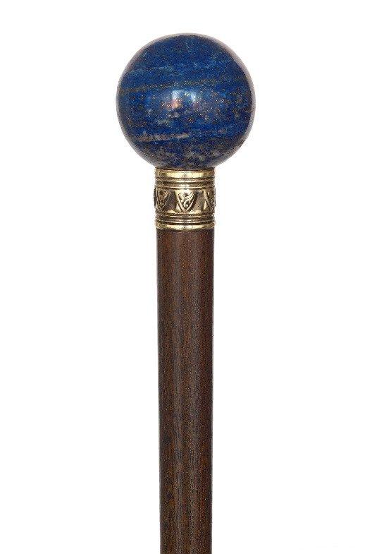 65. Lapis Lazuli Dress Cane-Ca. 1900-Plain Lapis Lazuli - 2
