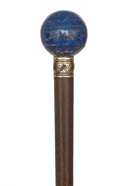 65. Lapis Lazuli Dress Cane-Ca. 1900-Plain Lapis Lazuli - 3