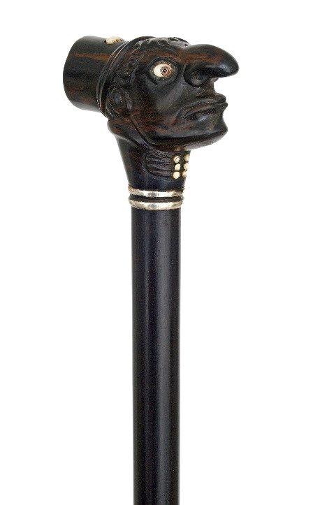 78. Whimsical Man Ebony Dress Cane-Ca. 1880-Could be a - 5