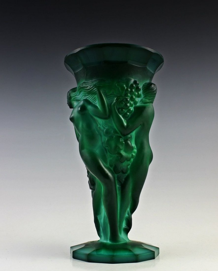 French Art Deco Bohemian Jade / Malachite Large Vase - 3