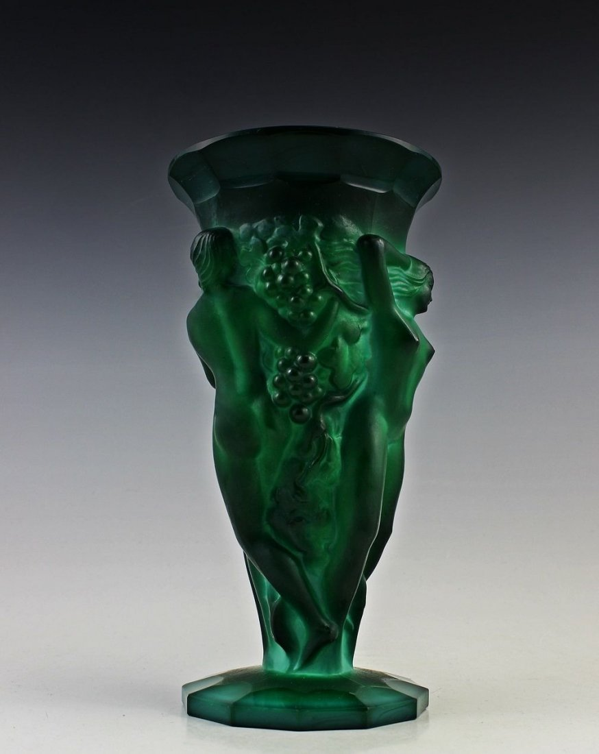 French Art Deco Bohemian Jade / Malachite Large Vase - 4