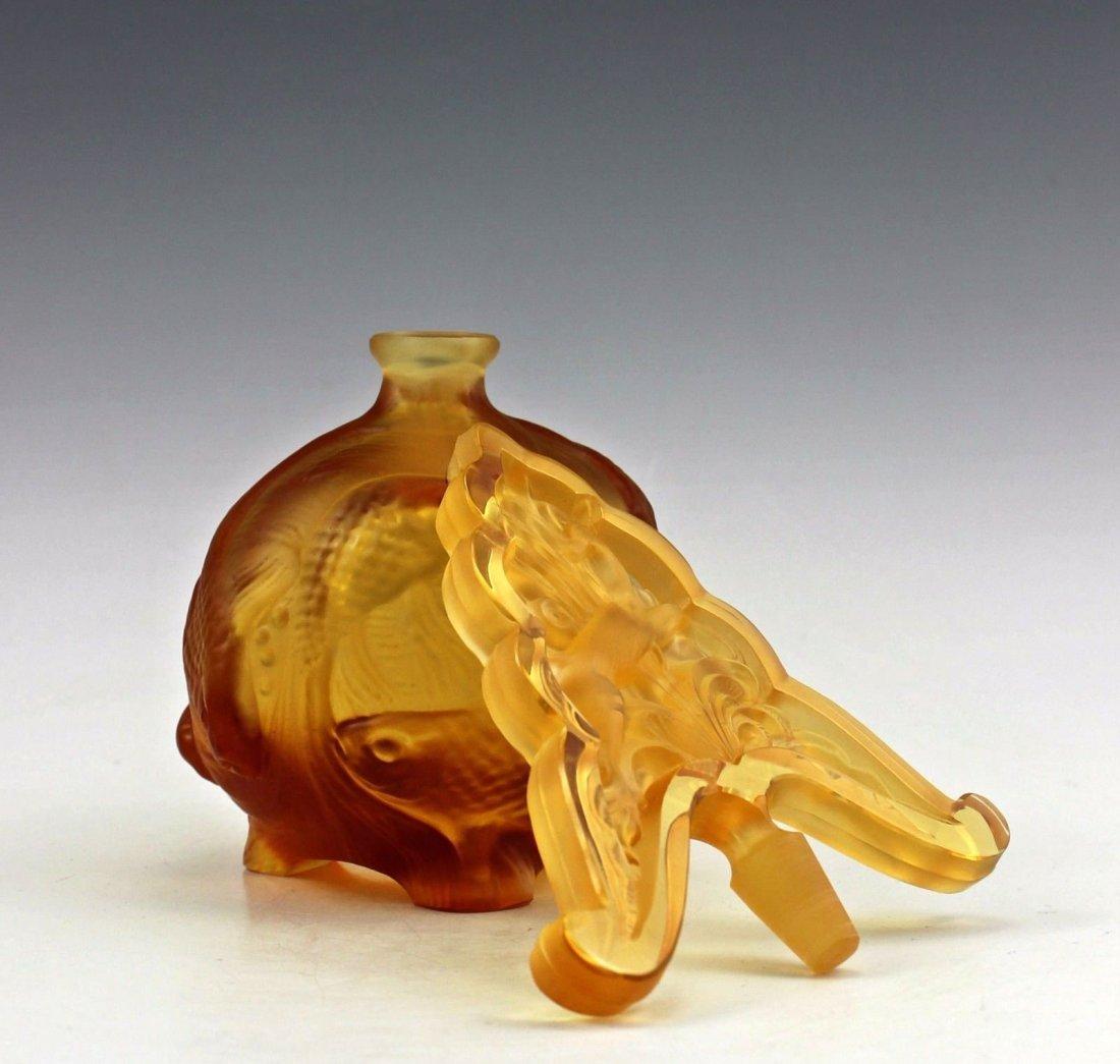 Vintage Bohemian Art Deco Amber Glass Perfume Bottle - 5
