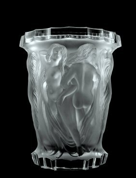 Glamorous Bohemian Art Deco Glass Large Vase