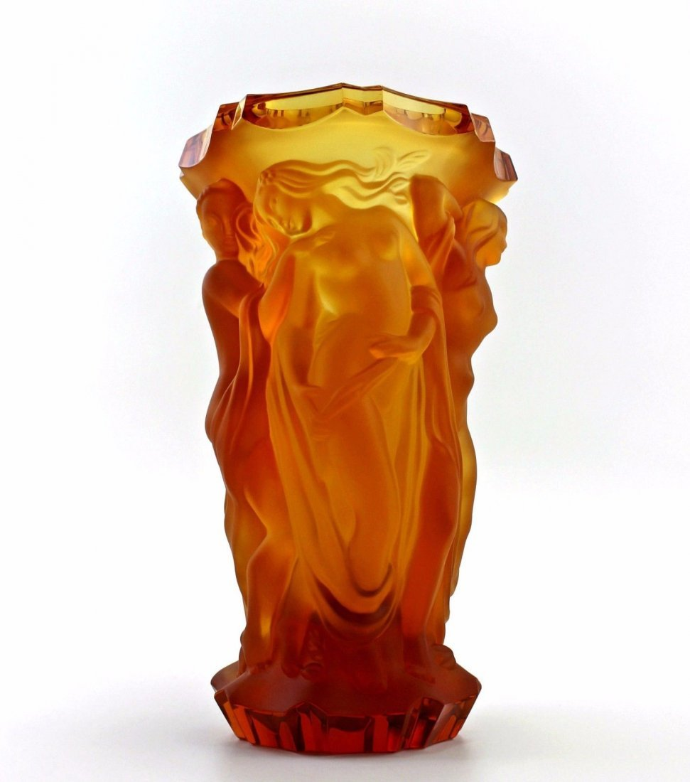Bohemian Art Deco Amber Glass Large Vase