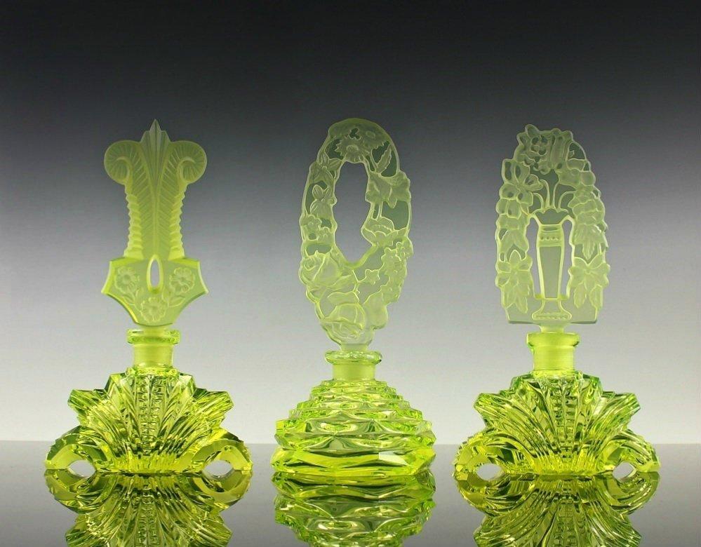 Vintage Bohemian Art Deco Glass 3 Perfume Bottles