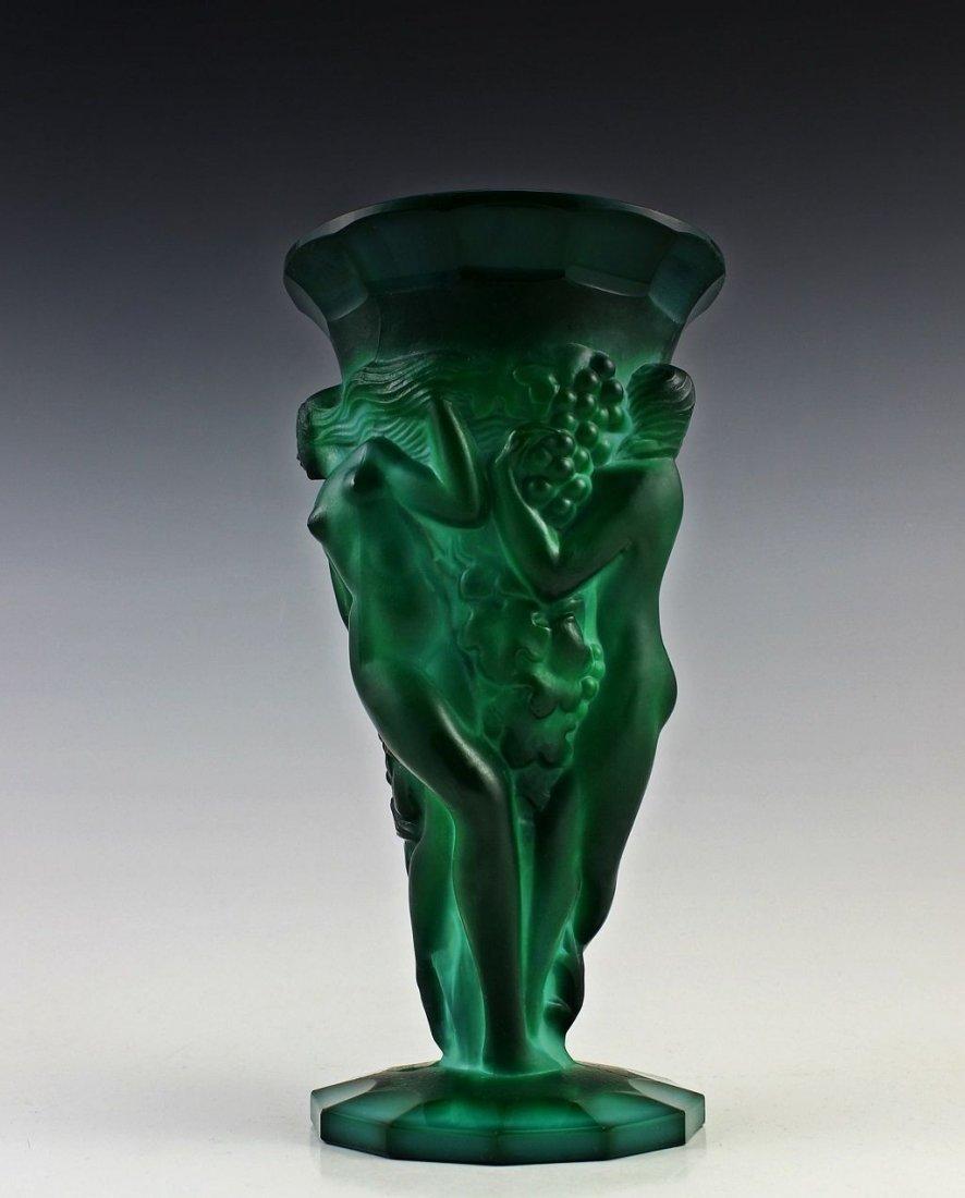 French Art Deco Bohemian Jade / Malachite Large Vase - 2