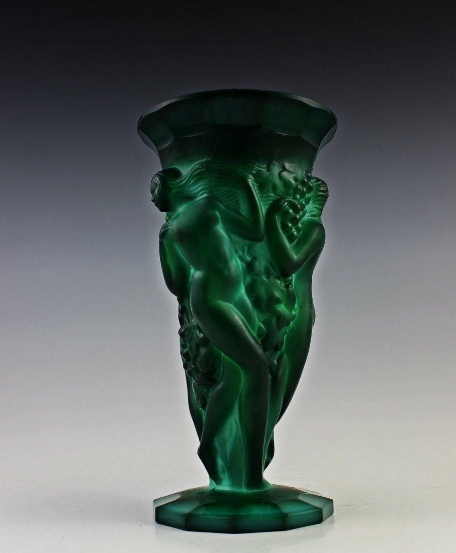 French Art Deco Bohemian Jade / Malachite Large Vase - 4