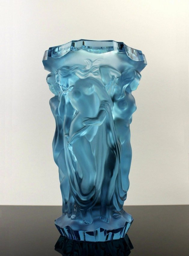 French Art Deco Alexandrite Bohemian Glass Large Vase
