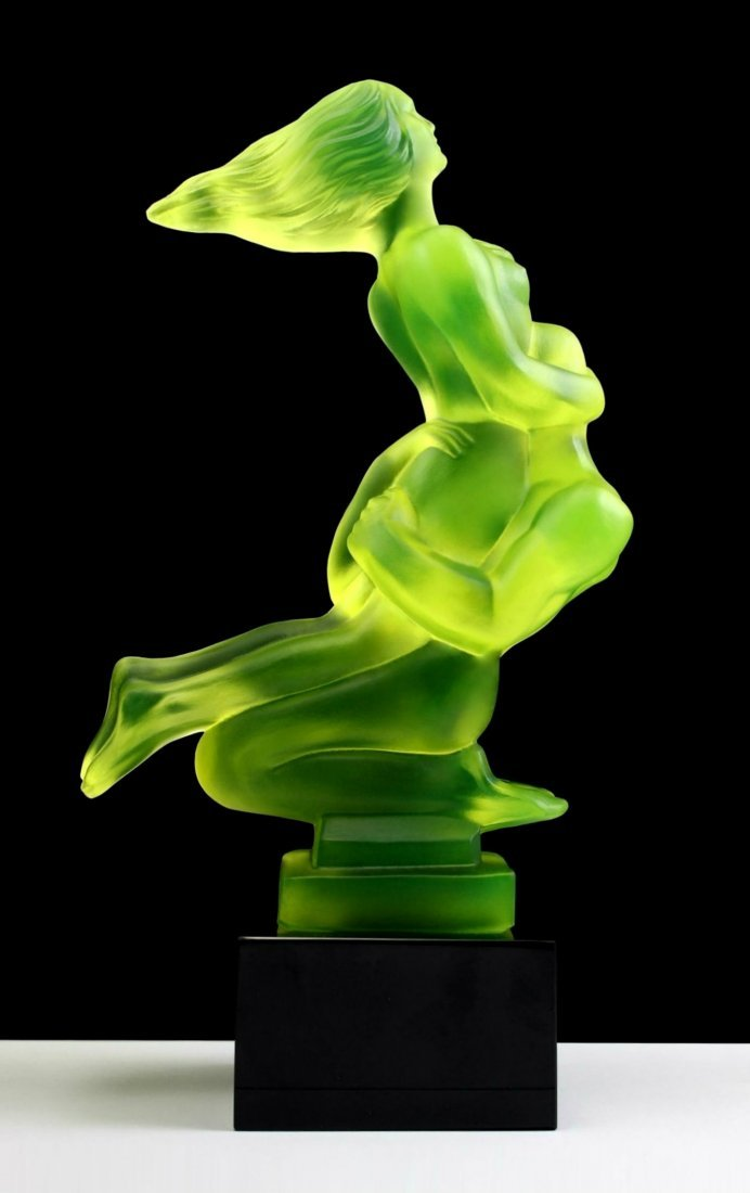 French Art Deco ' Nude Lovers 'Bohemia Glass Car Mascot - 5