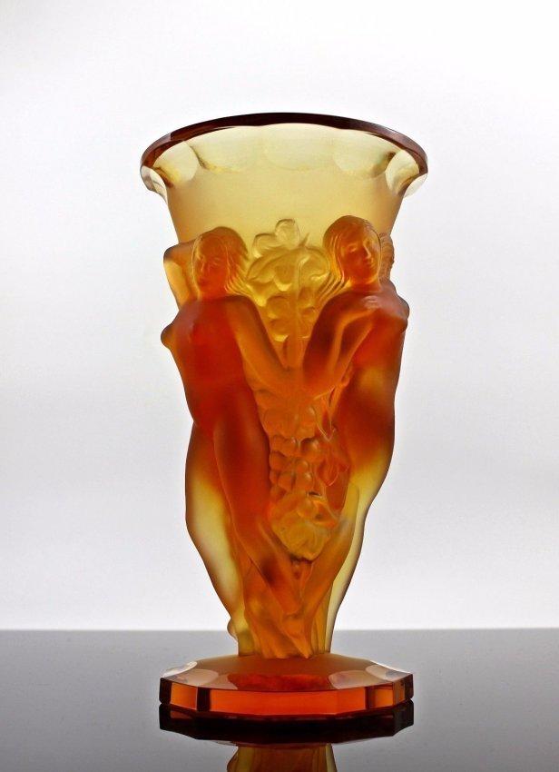 Bohemian Art Deco Amber Glass Large Decorative Vase