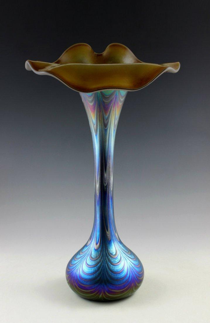 Bohemian Art Nouveau Iridescent Art Glass Large Vase