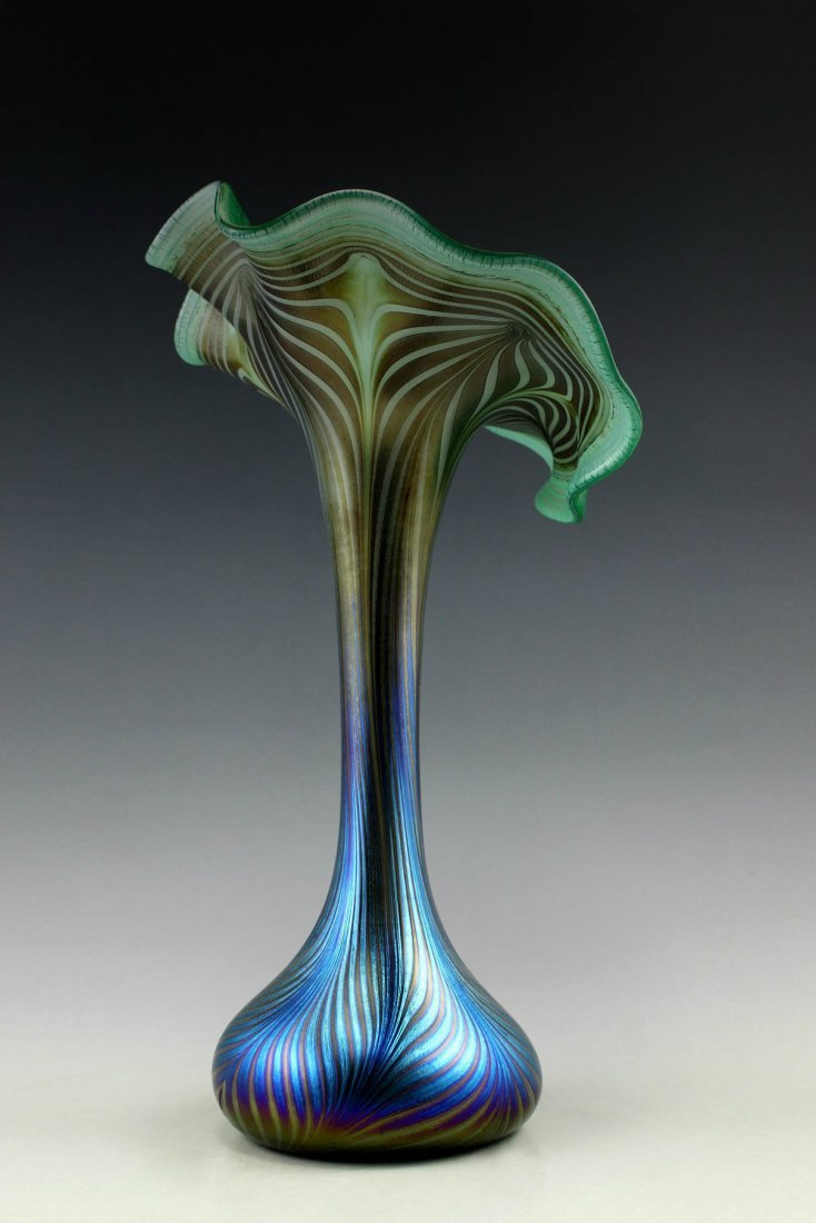Bohemian Art Nouveau Iridescent Glass Large Vase - 3