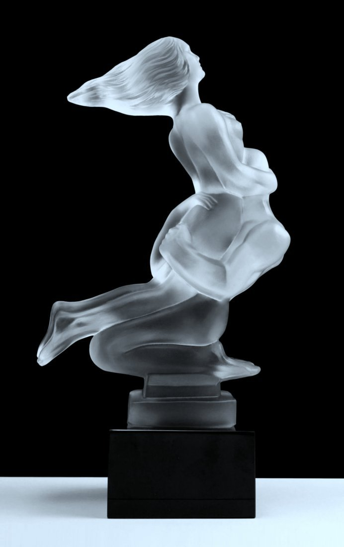 French Art Deco ' Nude Lovers ' Bohemia Glass Statuette